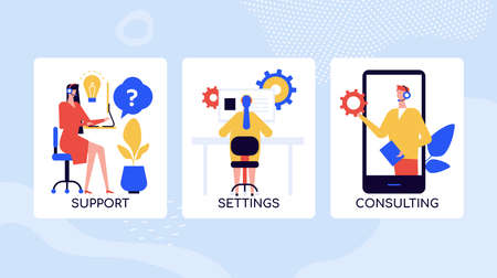 Call center services vector colorful banner template. Cartoon consultant with headphones giving instructions online. Technical support, maintenance operator at work. Helpline mobile app poster set