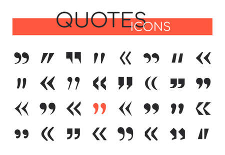Quotes collection - set of vector web elements. Different black buttons, icons showing citation, text. Symbols of copywright, authorship. Quotation marks of different shapes and forms
