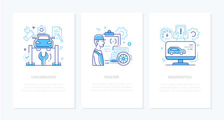 Vehicle repair and maintenance concept - line design style banners with place for text. Linear illustrations with icons. Car services, master and diagnostics. Images of a male worker, computer, tools