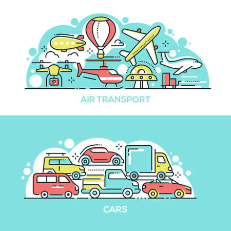 Air transport and cars banner templates set. Various flying and ground vehicles thin line illustrations. Old fashioned aircrafts and modern airplanes. Road traffic jam, rush hour Çizim