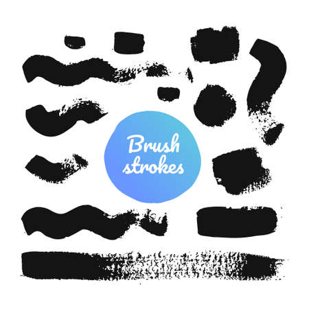 Black brush strokes - set of isolated design elements on white background. A collection of ink paintings, abstract textures, lines, curves and waves. Freehand drawing, gouache dirty marks