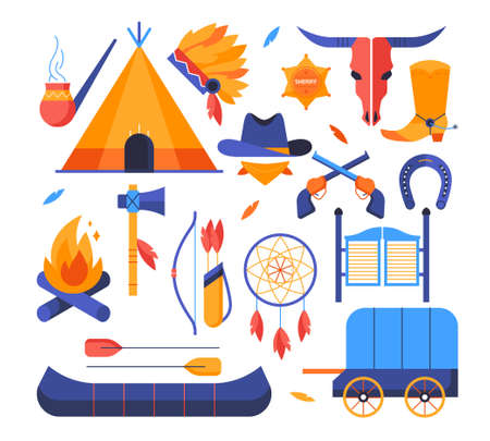 Wild west - set of flat design style elements Vectores