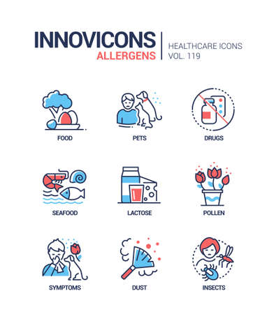 Allergens - vector line design style icons set