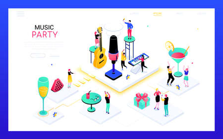 Music party - modern isometric vector web banner on white background with copy space for text. A header with happy people having a good time in a club, dancing, drinking cocktails, playing the guitar