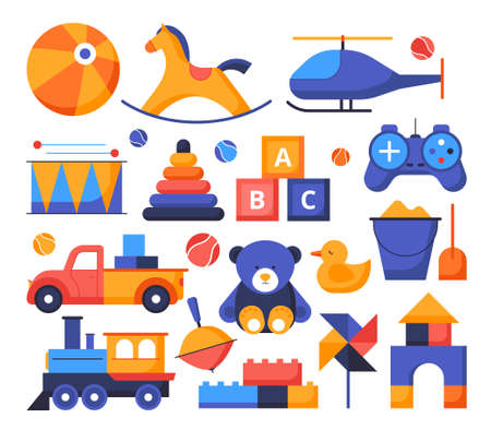 Toys - set of flat design style elements isolated on white background. Colorful objects, icons. Images of ball, gamepad, pyramid, car, train, duck, abc block activities and leisure games for children