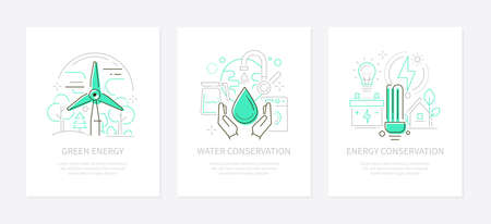 Eco lifestyle - vector line design style banners set with place for text. Green energy, water and energy conservation linear illustrations. Wind turbine, tap, washing machine and lightbulb, ESL icons