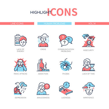 Human psychological problems - line design style icons set