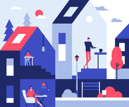 Stay at home - flat design style illustration. Coronavirus protective measures, recommendation of self-isolation and quarantine idea. Cartoon characters working and studying online with laptops Foto de archivo - 142870573