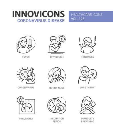 Coronavirus disease - line design style icons set Ilustracja