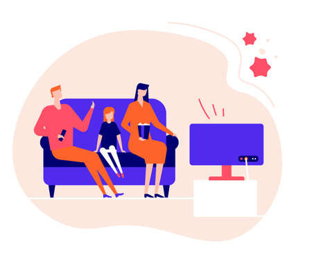Family staying at home - flat design style illustration. Coronavirus protective measures, recommendation of self-isolation, quarantine. Cartoon characters, parents with a daughter watching TV or movie 版權商用圖片 - 143044357