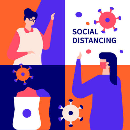 Social distancing concept - flat design style illustration. Protective measure, quarantine recommendation. A composition with elderly woman staying at home. Vulnerable group of people isolation idea Vetores