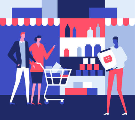 Family in the shop - flat design style illustration