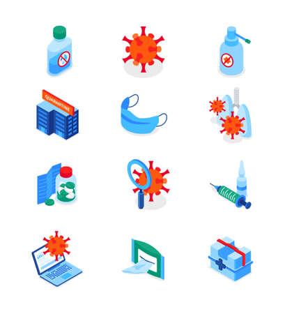 Coronavirus disease - set of modern isometric icons