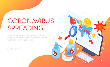 Coronavirus spreading in the world - isometric web banner with copy space for text. A composition with a map, computer, sanitizers and antiseptics, face mask. Viral shedding, preventive measures idea