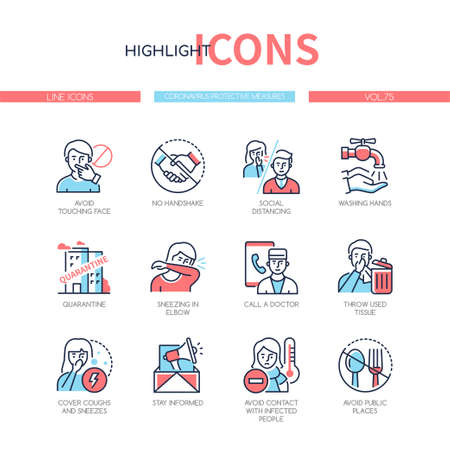 Coronavirus protective measures - colorful line design style icons