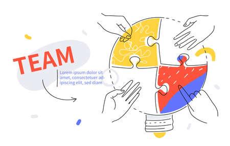 Efficient teamwork - colorful line design style web banner Vecteurs