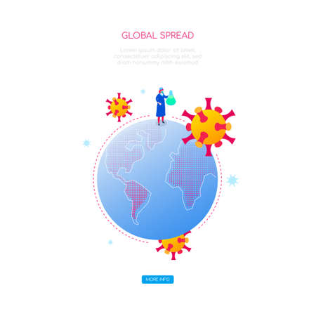 Coronavirus global spread - colorful isometric web banner with copy space for text. An illustration with a globe, doctor in protective wear holding a flask. Medical research, viral shedding theme Иллюстрация