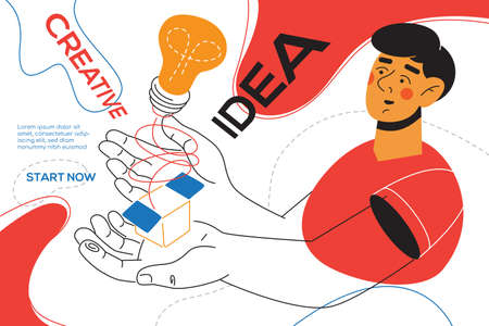 Creative idea - colorful flat design style web banner with line elements and copy space for text. An illustration with a character, male manager holding a box with a lightbulb inside. Inspiration theme