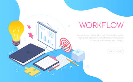 Workflow concept - modern colorful isometric web banner with copy space for text. An illustration with a workplace, desk with a laptop, flip chart, clipboard, notes. Planning and task management