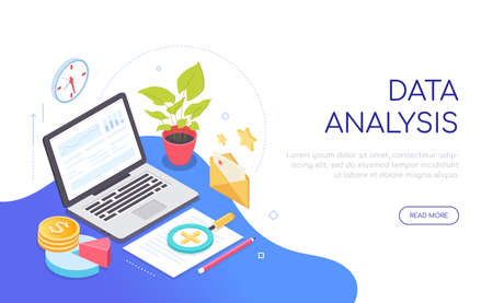 Data analysis - modern colorful isometric web banner Иллюстрация