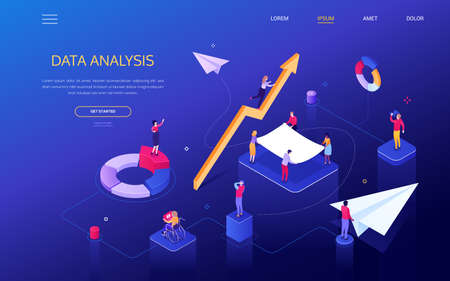 Data analysis - modern colorful isometric vector web banner with copy space for text. Male, female colleagues, team analyzing the results, looking through binoculars. Images of diagrams, paper plane Ilustracja