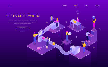 Successful teamwork - colorful isometric vector web banner Иллюстрация