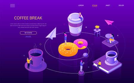 Coffee break - modern isometric vector web banner