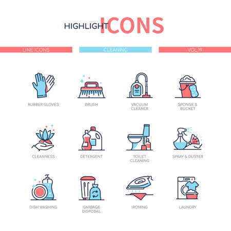 Cleaning services - line design style icons set. Household tasks and domestic chores idea. Images of detergents, gloves, brush, vacuum cleaner, sponge. Dish washing, garbage disposal, ironing, laundry Vecteurs