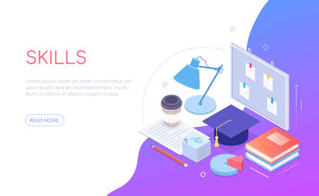 My skills - modern colorful isometric web banner 일러스트