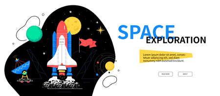 Space exploration - colorful flat design style web banner on white background with copy space for text. An illustration with shuttle, radiolocator, moon, flags, solar system. Cosmic journey idea