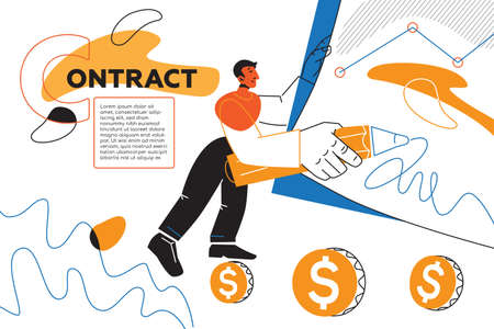 Contract - colorful flat design style web banner with line elements and copy space for text. An illustration with male manager signing a document. Business partnership and agreement, finance concept