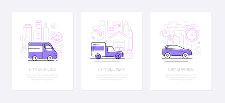 Urban transport - line design style banners set with place for text. City delivery, car sharing and services illustrations. Different modes of transportation idea. Minibus, van, vehicle images 向量圖像