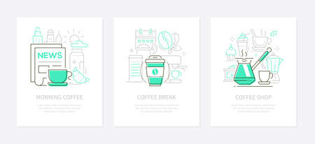 Coffee concept - line design style banners set