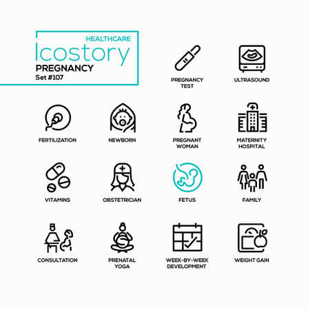 Pregnancy - vector line design style icons set Vectores