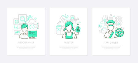 Different professions and services - line design style banners set