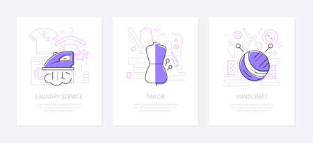 Clothing and services - line design style banners set with place for text. Laundry, tailor, handcraft illustrations. Ironing and washing machine, mannequin, clew and sewing items. Repair shop idea