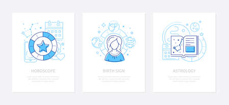 Astrology concept - line design style banners set