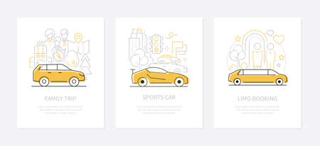 Vehicles concept - line design style banners set with place for text. Family road trip, sports car, limo booking illustrations. Different modes of transportation, urban transport and driving idea Illustration