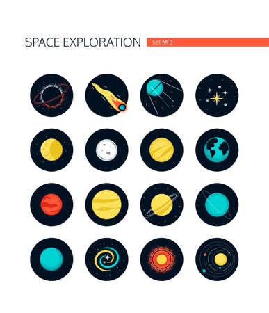Space objects - colorful flat design style icons in round frames on white background. Galaxy, cosmic exploration idea. Black hole, comet, satellite, stars, moon, Earth, planets, universe, sun symbols 向量圖像