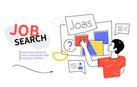 Job search - modern colorful flat design style web banner Illustration