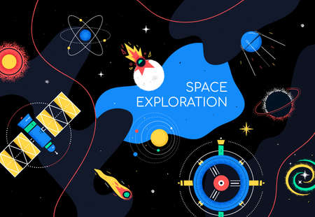 Space exploration - colorful flat design style illustration on black background with place for heading. An illustration with satellite, sun, station, comet, black hole, impact, universe. Galaxy idea