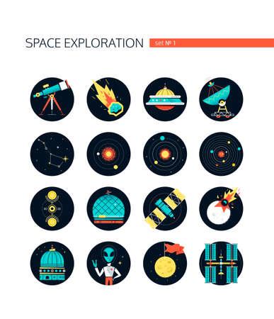 Space exploration - colorful flat design style icons in round frames on white background. Galaxy idea. Telescope, meteorite, ufo, constellation, orbit, crop circles, satellite, colonization of Mars Illusztráció