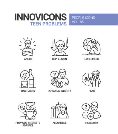 Teen problems line design style icons set