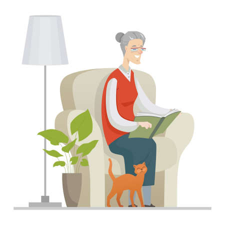 Senior woman reading - flat design style illustration with cartoon character. Cheerful grandmother, retired person sitting in a chair at home with a book, a cat walking. Elderly people care concept Ilustração