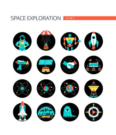 Space exploration - colorful flat design style icons in round frames on white background. Galaxy, cosmic exploration idea. Astronaut, capsule, rocket, blaster, satellite dish, shuttle, colonization