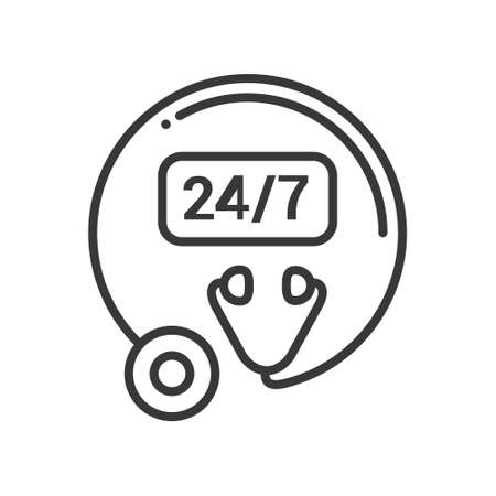 Clinic open 24 hours, 7 days - line design single isolated icon on white background. High quality black pictogram, emblem. Images of a stethoscope and round-the-clock service symbol