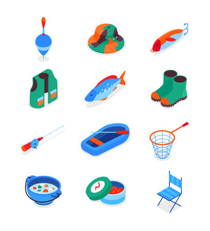 Fishing equipment - modern colorful isometric icons set. Hobby, recreation and summer activity concepts. Fish, rubber boots, vest, rod, boat and puddle, soup, landing net, jig, bait, hat images