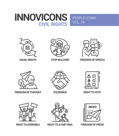 Civil rights concept line design style icons set