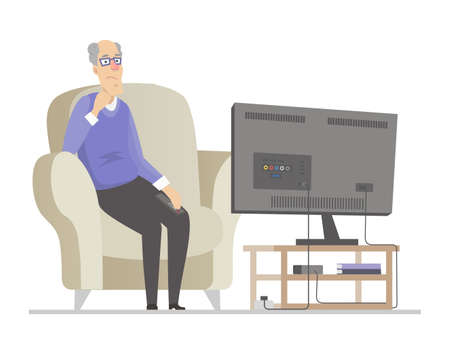 Senior man watching TV - flat design style illustration