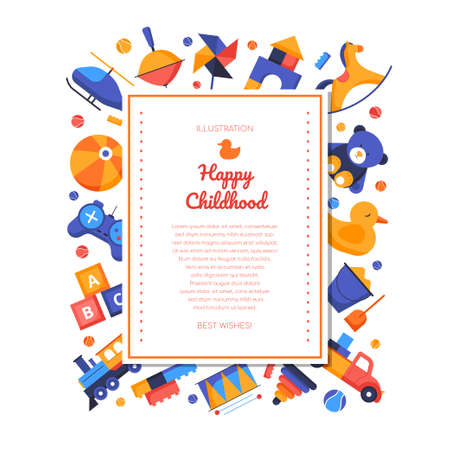 Happy childhood - vector flat design style banner